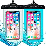 Pack 2 Funda Impermeable Móvil IPX8 con Bolsa Sumergible Agua Estanca Acuática Playa   iPhone XR XS X SE 11 9 8 7 6s Plus Samsung S20 Plus A71 Xiaomi Mi 10 Huawei P30 BQ Aquaris   Transparente + Azul
