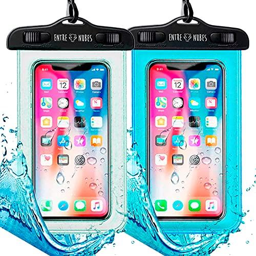 Pack 2 Funda Impermeable Móvil IPX8 con Bolsa Sumergible Agua Estanca Acuática Playa | iPhone XR XS X SE 11 9 8 7 6s Plus Samsung S20 Plus A71 Xiaomi Mi 10 Huawei P30 BQ Aquaris | Transparente + Azul