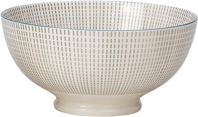 Torre & Tagus 910550A Kiri Porcelain 8-Inch Large Grey with Blue Trim Bowl