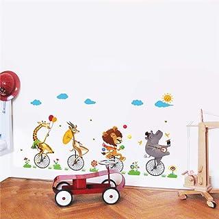 zxddzl Divertido Circo Acrobacia Carretilla Calcomanías De Pared Dormitorio Habitaciones para Niños Decoración para El Hogar Dibujos Animados Animales Pegatinas De Pared PVC Arte Mural