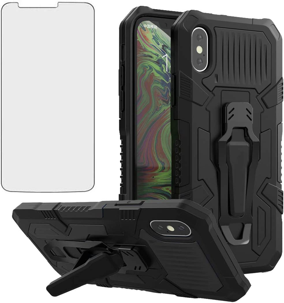 Compatible with Moto G8 Plus MotoG8 Play Case and Tempered Glass Screen Protector Cover Cell Kickstand Phone Cases for Motorola MotoG8Plus Moto8 + G8+ Motorola G8Plus Motog8+ MotoG8Play G8Play Black