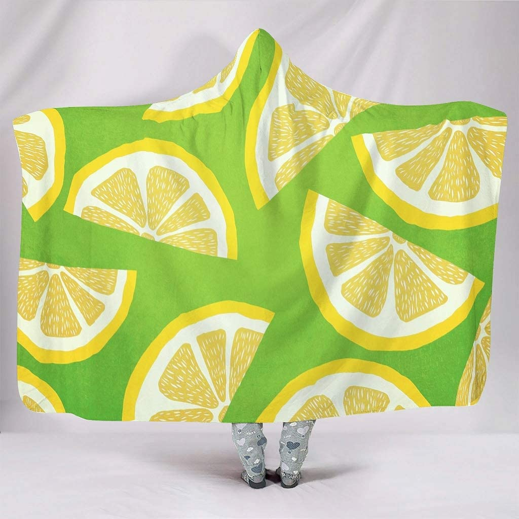 Rtisandu Hooded Memphis Mall Blanket Lemon Slice Green Artwork Yel and Oklahoma City Mall Citrus