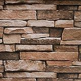"Stone Peel and Stick Wallpaper - Backsplash Peel Stick, Wall Paper, or Shelf Paper – Adhesive 3D Faux Textured Stone Wall Look - Brick Wallpaper - 17.71"" Wide x 177"" Long - 21.77 sq. ft. (1)"