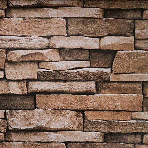 Stone Peel and Stick Wallpaper - Backsplash Peel Stick, Wall Paper or Shelf Paper - Adhesive 3D Faux Textured Stone Wall Look - Brick Wallpaper - 45 cm breit x 449,6 cm lang - 21,77 sq.ft (1)
