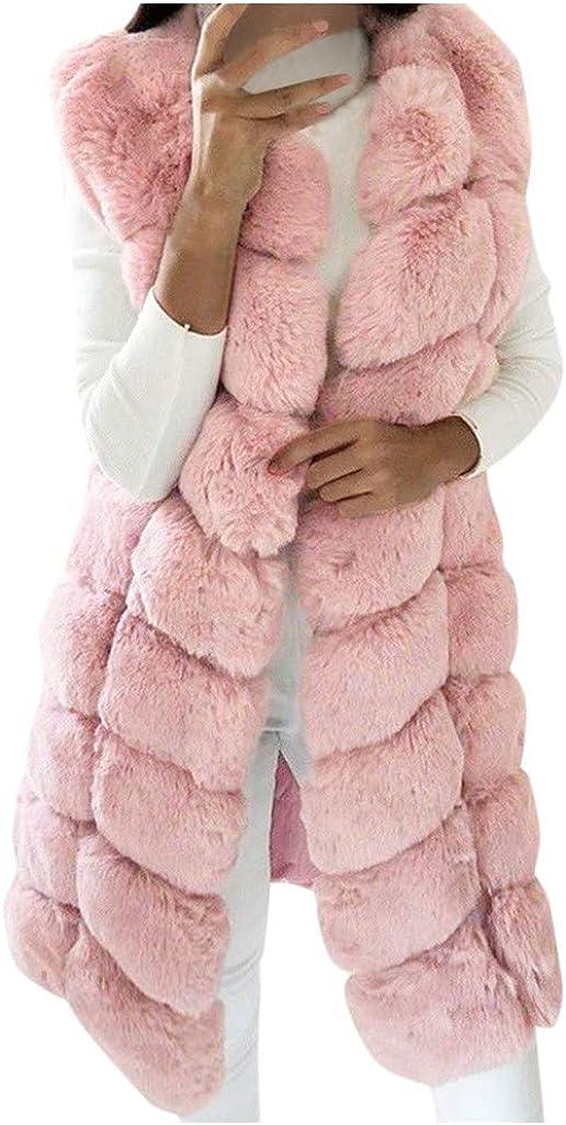 VEKDONE Women Oversized Faux Fox Fur Vest Lined Warm Coats Parkas Outwear Winter Long Jackets Overcat Peacoat