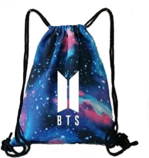 KPOP BTS Bangtan Boy Galaxy Drawstring Bag Backpack Starry BTS New Logo  Shoulder Bag Gym Bag 46cc8a4bb48e2