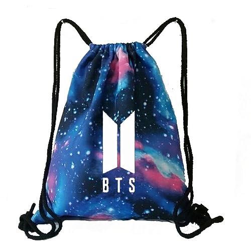 KPOP BTS Bangtan Boy Galaxy Drawstring Bag Backpack Starry BTS New Logo Shoulder Bag Gym Bag