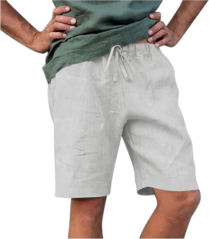 XUNFUN Men's Linen Shorts Casual Quick Dry Athletic Shorts Elastic Waist Lightweight Summer Beach Workout Shorts