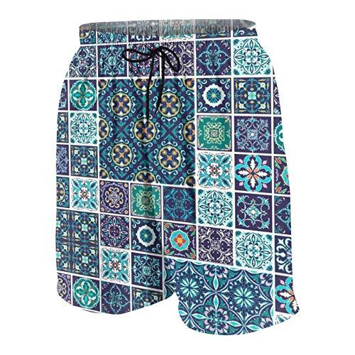 KOiomho Uomo Personalizzato Costume da Bagno,Mosaico Tradizionale Azulejo Portoghese culturale Piastrelle in Ceramica Folk Design,Casuale Beachwear Costumi Pantaloncini da Surf