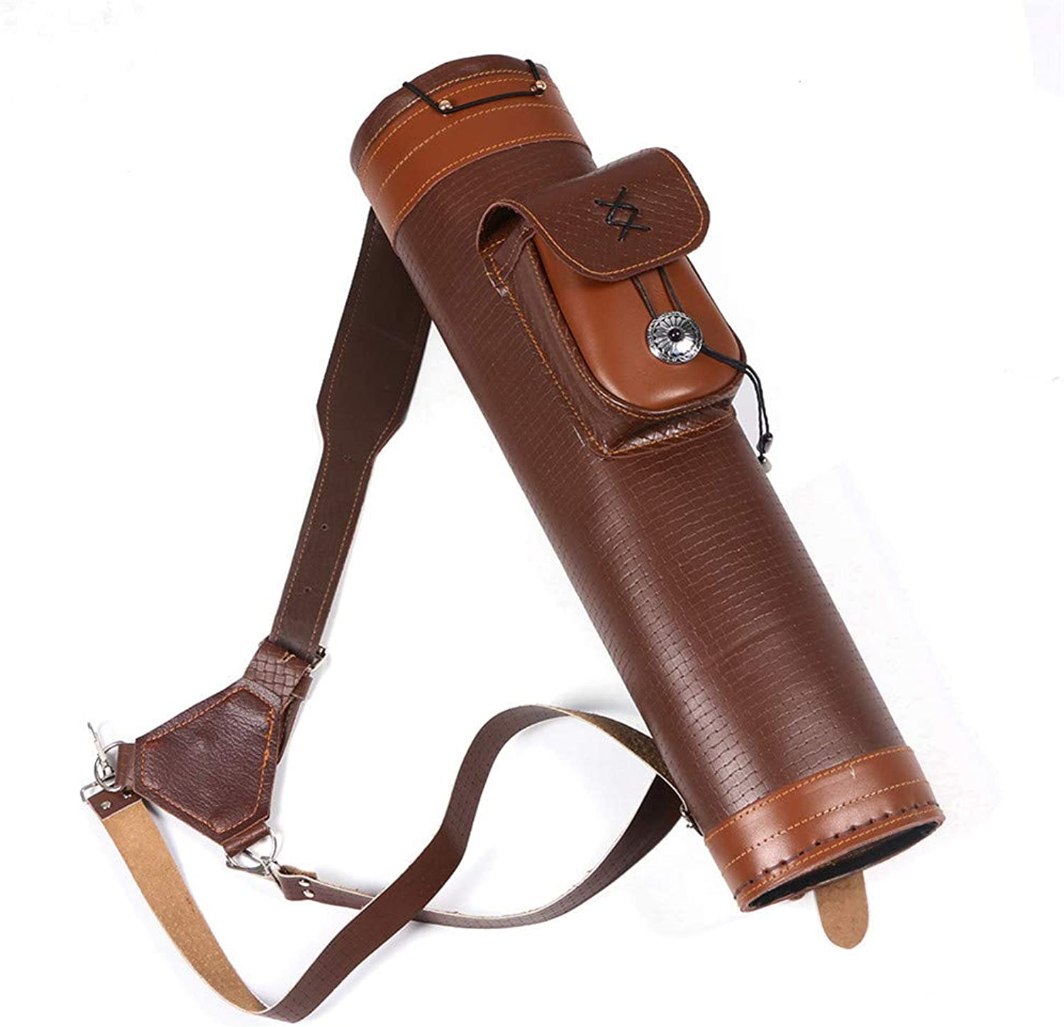 OUYAWEI Portable LargeCapacity Archery Traditional Back Arrow Quiver Leather Hunting Pouch Belt Bag