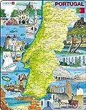 Larsen K71 Portugal - Mapa, Lugares de interés y Atracciones, edición en Portugués, Puzzle de Marco con 64 Piezas