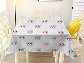 L'sWOW Tablecloth Large Square Tablecloth Emoji Cat Faces with Pink Heart Shaped Eyes Romantic Animal Kitty Mascot in Love Pale Grey Pink White Plaid 36 x 36 Inch