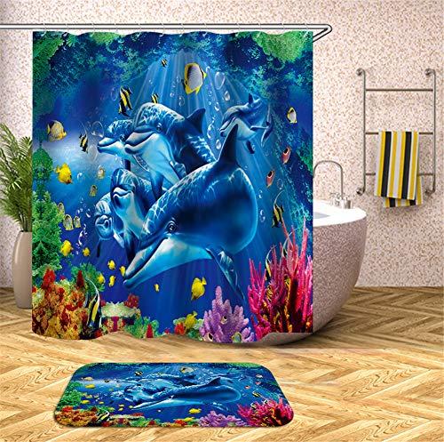 ZZZdz Delphine Und Fische, Die Im Ozean Spielen. Teppich. Plus Samt. 40X60Cm. Duschvorhang. 3D Hd-Druck. Wasserdicht. 180X180Cm. Haus Dekoration.