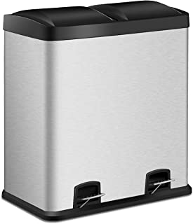 Costzon Double Compartment Classified Step Trash Can, 16 Gallon Stainless Steel Pedal Bin, 2 x 30L Removable Buckets w/Carry Handle, Garbage Classification Recycle for Home, Kitchen, Restaurant