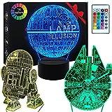 3D Star Wars Lamp - Star Wars Gifts - 3 Pattern & 1 Base & 1 Remote - Star Wars R2-D2 / Death Star/Millennium Falcon -...