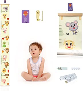 Growth Chart for Kids,Upgrade Removable Baby Growth Chart for Wall with Marker Stickers,Hooks,Canvas Height Measuring Rule...