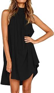 Womens Holiday Irregular Dress,Summer Beach Sleeveless Dress Changeshopping