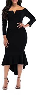 Fishtail Dresses for Women Midi Bodycon Dress Long Sleeve...