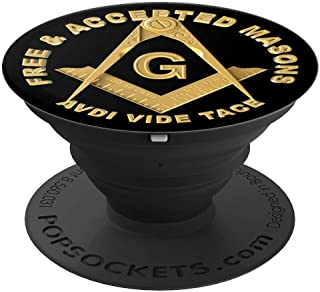 Masonic Square & Compass Avdi Vide Tace Freemason Emblem - PopSockets Grip and Stand for Phones and Tablets