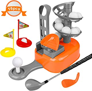 LOYO Kids Golf Clubs Toy Set Toddler-Golf-Clubs Sport Outdoor Toys, Golf-Balls-Game Gift for Preschool Boys Girls Age 3, 4, 5, 6, 7, 8