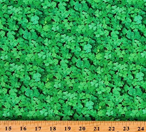 Cotton Shamrocks Clovers Plants St Patrick's Day Irish Green Cotton Fabric Print by The Yard (D567.87)
