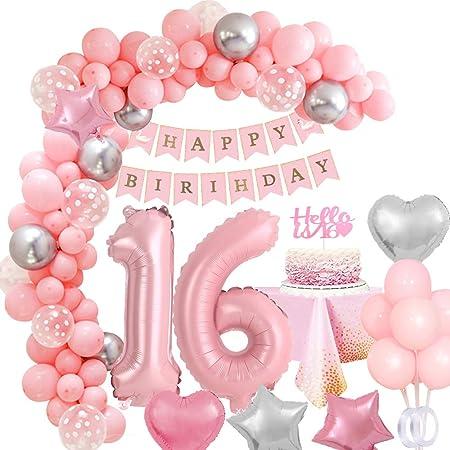 Mmtx 16 Geburtstagsdeko Rosa Mädchen 40 Zahlen Luftballon 16 Geburtstag Mädchen 16 Jahr Geburtstag Dekoration Mit Happy Birthday Girlande Folienballons Torten Topper Tischdecke Für Party Deko Küche Haushalt