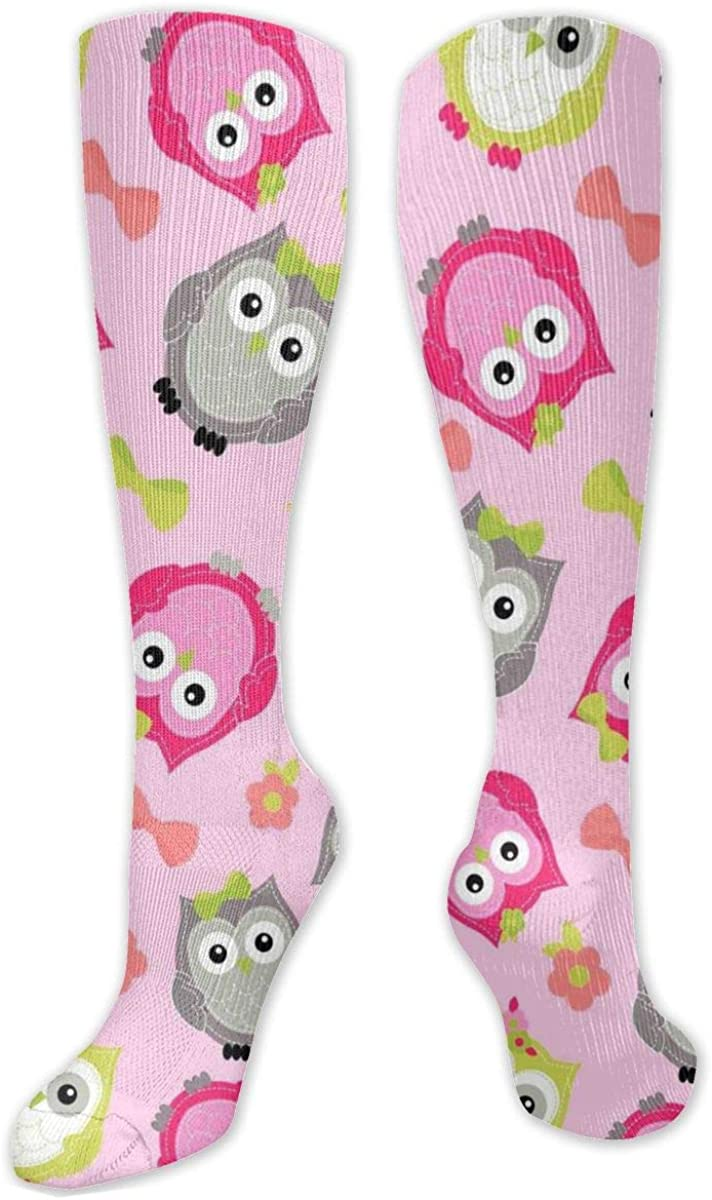 Pink Cute Owls Pattern Knee High Socks Leg Warmer Dresses Long Boot Stockings For Womens Cosplay Daily Wear