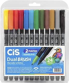 Marcador Artístico Aquarelável Dual Brush, CIS, 58.0200, Multicor, Pacote de 24