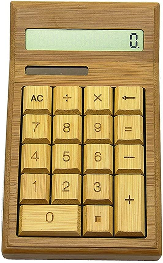 ZHANGCHI Creative Bamboo Calculator 12 Digit Desktop Calculator with Solar Digital Display is Compact and Easy to Carry