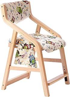 Decoración de muebles Silla de estudio para niños Silla para estudiantes de escuela primaria Silla elevable de madera maciza Silla de escritorio con respaldo Silla de comedor para el hogar 6 altura