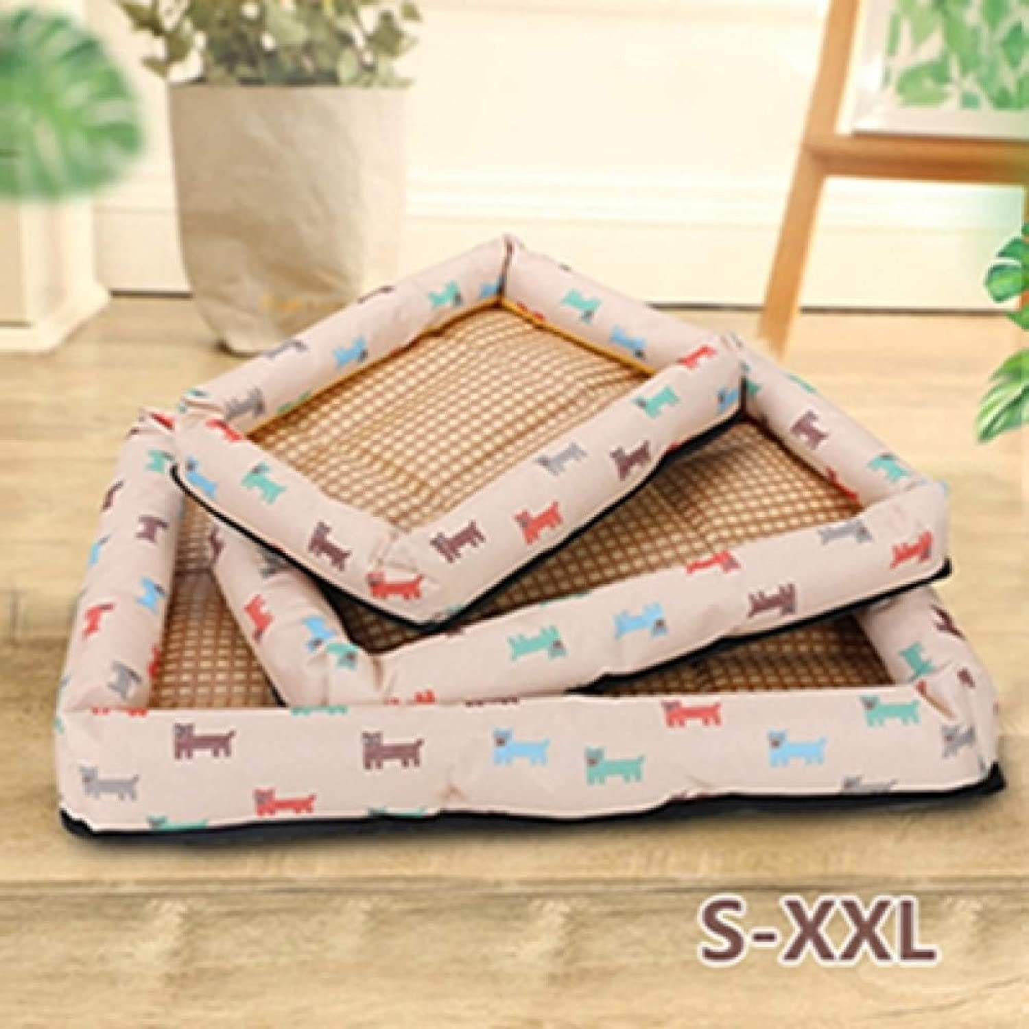 CZHCFF Summer cool dog bed mat puppy cat sleeping soft nest wicker Material basket dog cat House pet products for