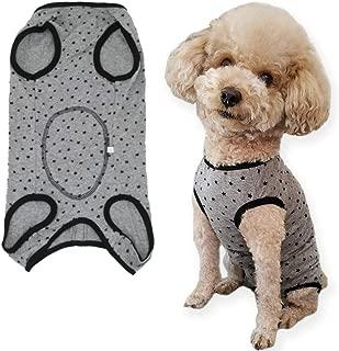 Due Felice 犬 術後服 術後ウェア エリザベスカラーに代わる ボタンタイプ 皮膚保護 傷舐め 避妊 傷口の保護 小型犬 中型犬 グレーの星 XL
