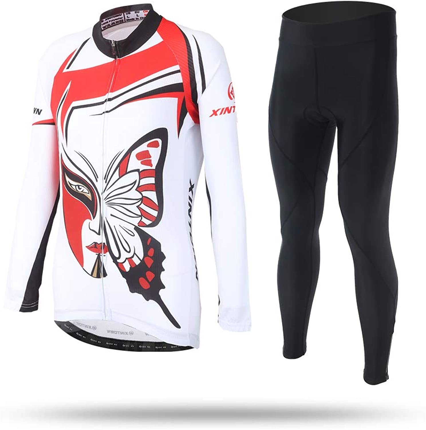 Cycling Jersey Women SunPredective Mountain Bike Shirts Long Sleeve Road Bicycle Clothing MTB Tops Summer Autumn Clothes Butterfly White Clothing Maillots Ciclismo Long Sleeve Suits