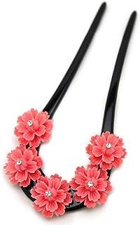 (ソウビエン) バチ型簪 ピンク 黒 桜 花 ラインストーン 結婚式 成人式 卒業式