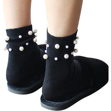 Calzini da donna cotone OULII perle decorative casual calze da corte ragazza Taglia unica (Nero)