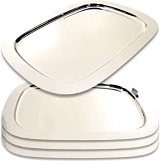 Maro Megastore (Pack of 4) 17.3-Inch x 12.6-Inch Modern Simple Oblong Chrome Plated Serving Tray Decorative Wedding Birthday Dessert Cake Snack Wine Candle Platter Plate Party 1425 M Ts-136