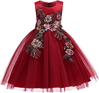 Huizhirem Girls Dress Kids Flower Lace A-line Party Wedding Bridesmaid Dresses Sleeveless Tutu Tulle Princess Dresses for 3-12 Years