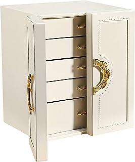 Gifort Boite a Bijoux, Coffre à Bijoux en Cuir avec 5 Tiroirs pour Bracelets, Boucles d'Oreilles, Bagues, Colliers et Mont...