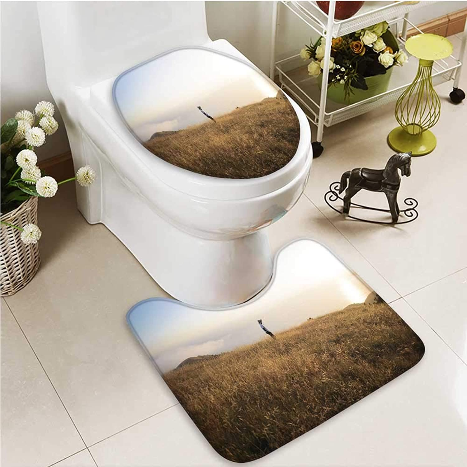 Printsonne Bathroom Non-Slip Floor Mat The Autumn Meadows and People with High Absorbency