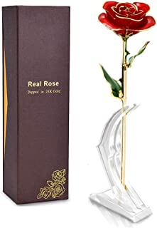 Enchanted 24K Golden Rose That Lasts Forever Made of Real Preserved Roses Dipped in Gold The Crystal Galaxy Flower is Romantic Valentine's Day Anniversary Wedding and Proposal Gifts for Her Idea