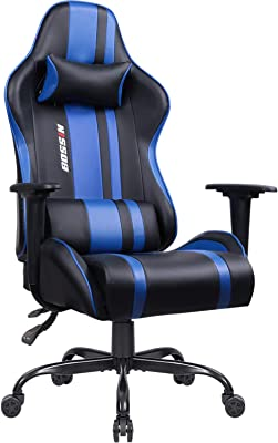 Bossin Gaming Chair Racing Office Chair Leather Desk Computer Chair Adjustable Swivel Chair with Headrest and
