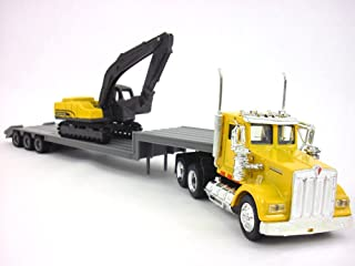Kenworth W900 Yellow Truck and Backhoe 1/43 Scale Diecast Metal Model