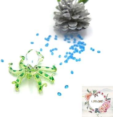 I-DO-CARE Tiny Clear Glass Light Green Octopus Figurine Hand Blown Animal Miniature Marine Aquarium Art Decoration Personaliz