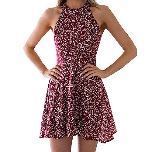 DOGZI Vestido Mujer Halter Sexy impresión sin Espalda Slim Fit Hanging Vestido Verano Playa de Fiesta Mini Dress