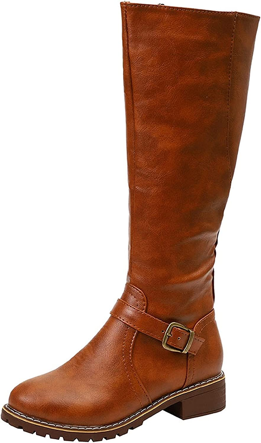 Knee High Boots for Women Low Fashion Fresno Mall Comfortable Vintage Selling rankings W Heel