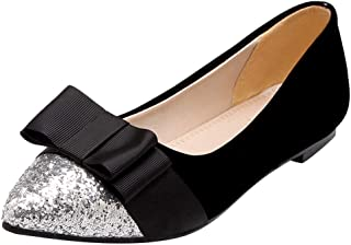 ◕。 Fashion Women's Flats Comfy Pointed Toe Sequin Bowknot Single Shoes Large Size Flat Pumps Shoes
