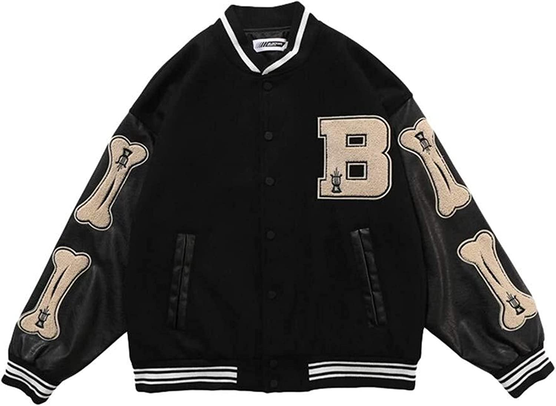 joyvio Unisex Varsity College Jacket High School Baseball Jackets Sweat Jacket Vintage Streetwear Patchwork Sports Jacket