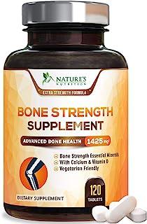 Bone Strength Supplements Calcium Formula - Vitamin K and D3, Magnesium, Potassium - Made in USA - Complete Bone Support S...