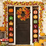 BLKWHT Fall Harvest Porch Sign, Autumn Thanksgiving Pumpkin Maple Leaves Hanging Banners for Holiday Home Window Wall Garden Yard Indoor Outdoor Party Decor 12 x 72 Inches