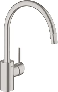 Grohe 32665DC1 Concetto Single-Handle Pull-Down High Arc Kitchen Faucet, 1.75 GPM, SuperSteel InfinityFinish